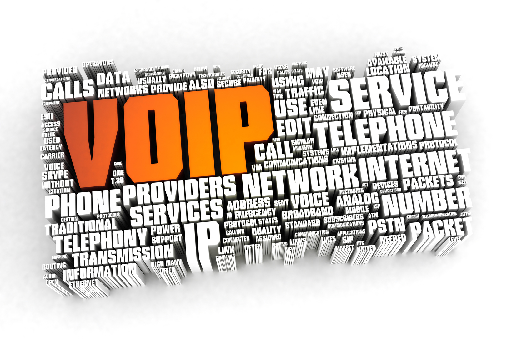 Voip related 3D words on white background